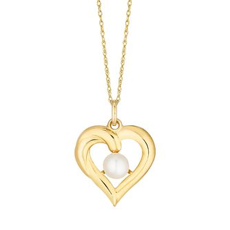 9ct Yellow Gold Freshwater Pearl Heart Pendant - Product number 4859081