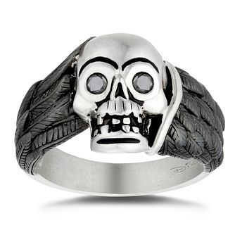 Enchanted Disney Fine Jewelry Silver Diamond Skull Ring - Product number 4859103