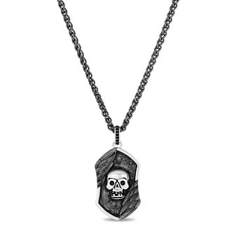 Enchanted Disney Fine Jewelry Silver Skull Dog Tag Pendant - Product number 4859480