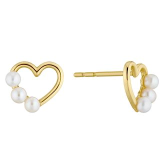 9ct Yellow Gold 3 Freshwater Pearls Heart Stud Earrings - Product number 4860144