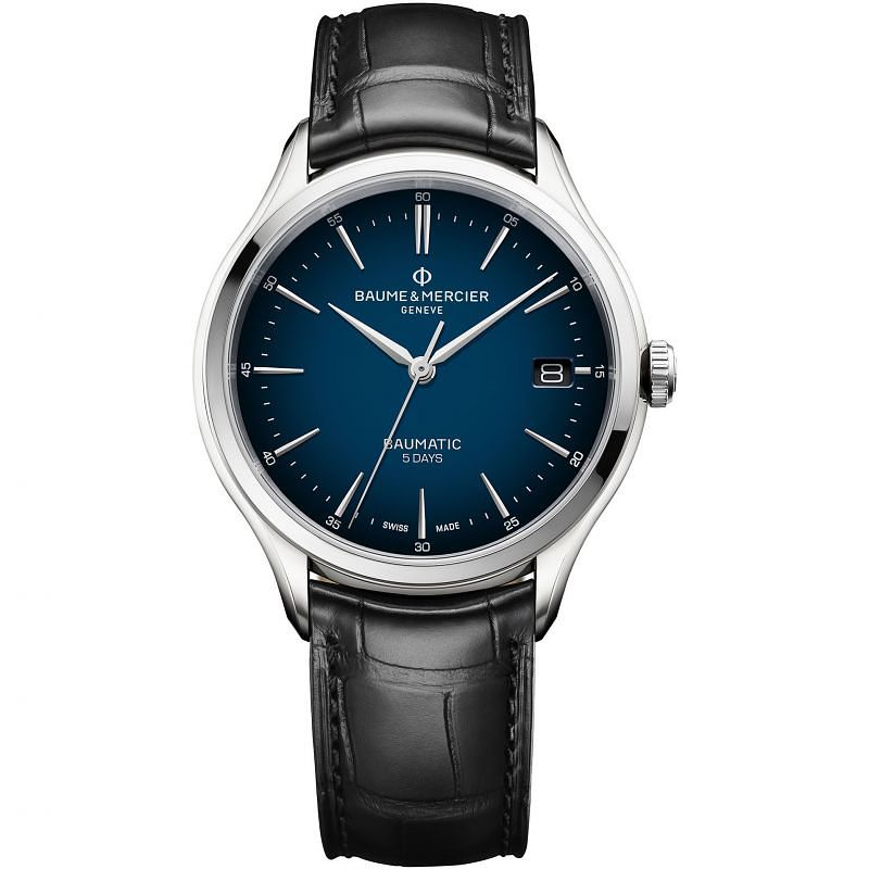 Baume & Mercier Clifton Baumatic Black Leather Strap Watch - Product number 4860292