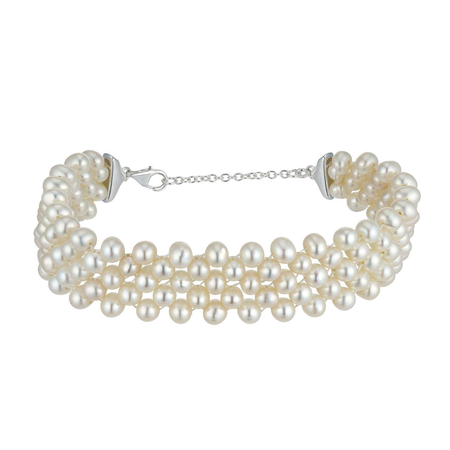 Silver Cultured Freshwater Pearl 5 Row Bracelet - Product number 4863178