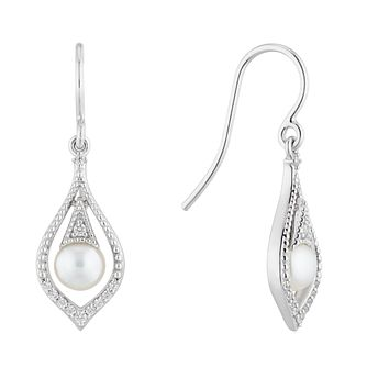 Silver Freshwater Pearl Cubic Zirconia Vintage Drop Earrings - Product number 4865499