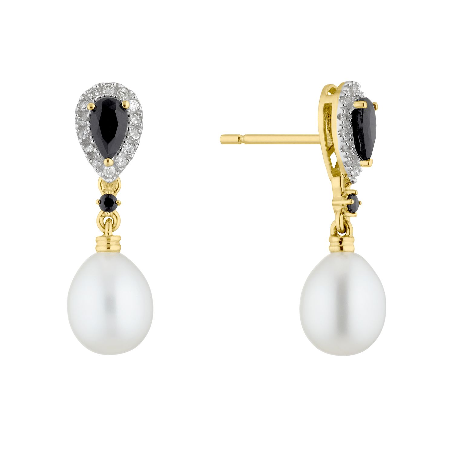 9ct Gold Freshwater Pearl, Sapphire & Diamond Earrings - Product number 4865537