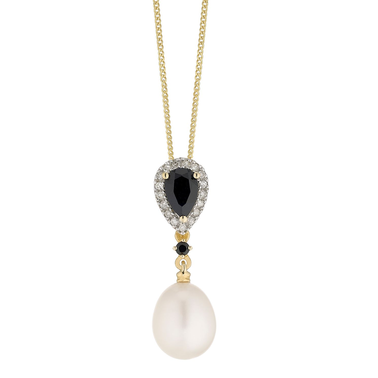 9ct Gold Freshwater Pearl, Sapphire & Diamond Pendant - Product number 4865545