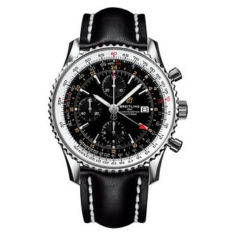 Breitling Navitimer GMT Men's Black Leather Strap Watch - Product number 4866096