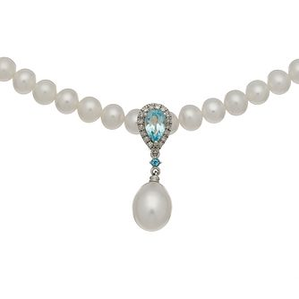 9ct White Gold Freshwater Pearl, Topaz & Diamond Necklace - Product number 4866215