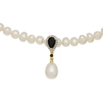 9ct White Gold Freshwater Pearl, Sapphire & Diamond Necklace - Product number 4866223