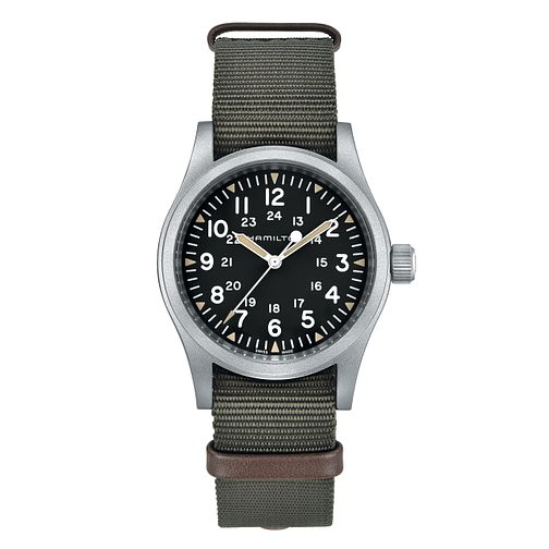 Hamilton Khaki Field Mechanical Men's Green Strap Watch - Product number 4866606