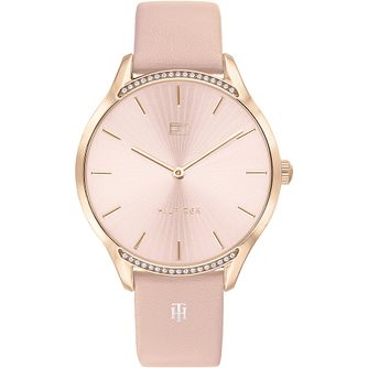 Tommy Hilfiger Crystal Pink Leather Strap Watch - Product number 4872479