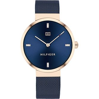 Tommy Hilfiger Ladies' Navy IP Mesh Bracelet Watch - Product number 4872495