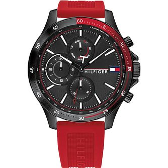 Tommy Hilfiger Day & Date Red Silicone Strap Watch - Product number 4872541