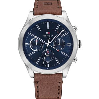 Tommy Hilfiger Day & Date Brown Leather Strap Watch - Product number 4872576