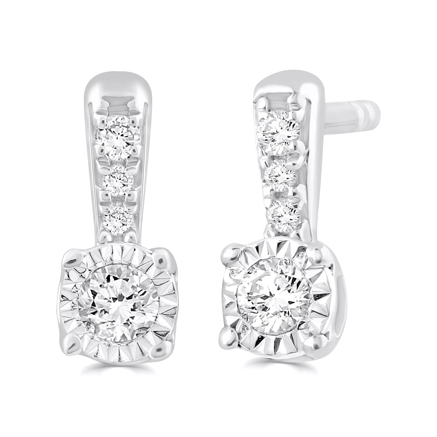 Silver Diamond Illusion Set Stud Earrings - Product number 4872592