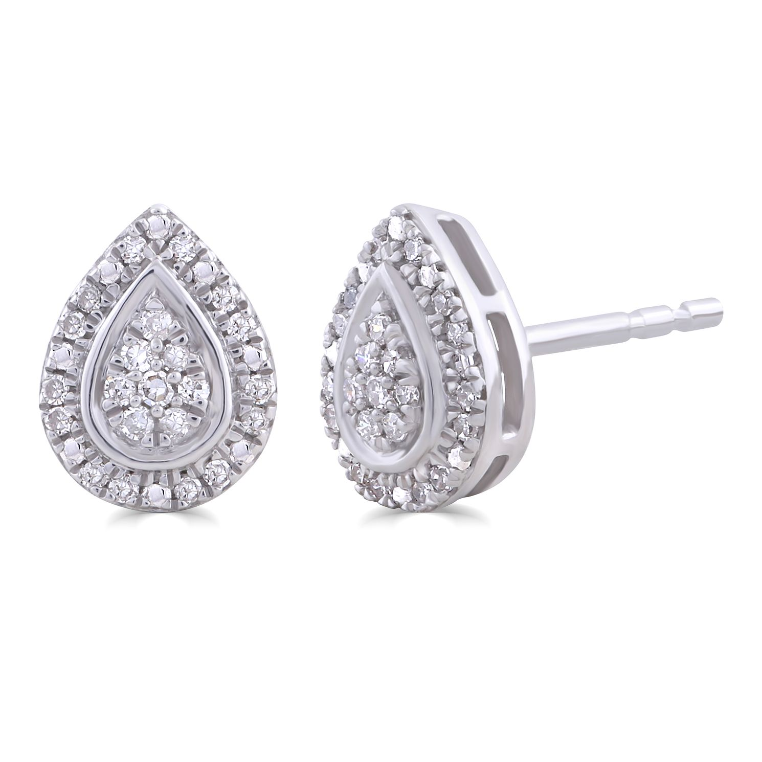 Silver 1/10ct Diamond Pear Stud Earrings - Product number 4872606