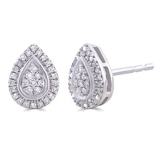 Silver 0.10ct Diamond Pear Stud Earrings - Product number 4872606