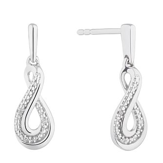 Silver Diamond Infinity Twist Drop Earrings - Product number 4872614