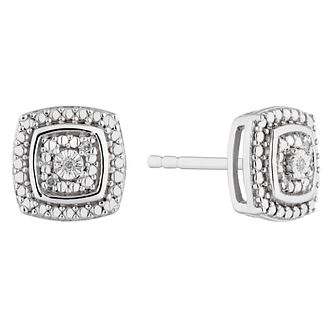 Silver Diamond Cushion Stud Earrings - Product number 4872622