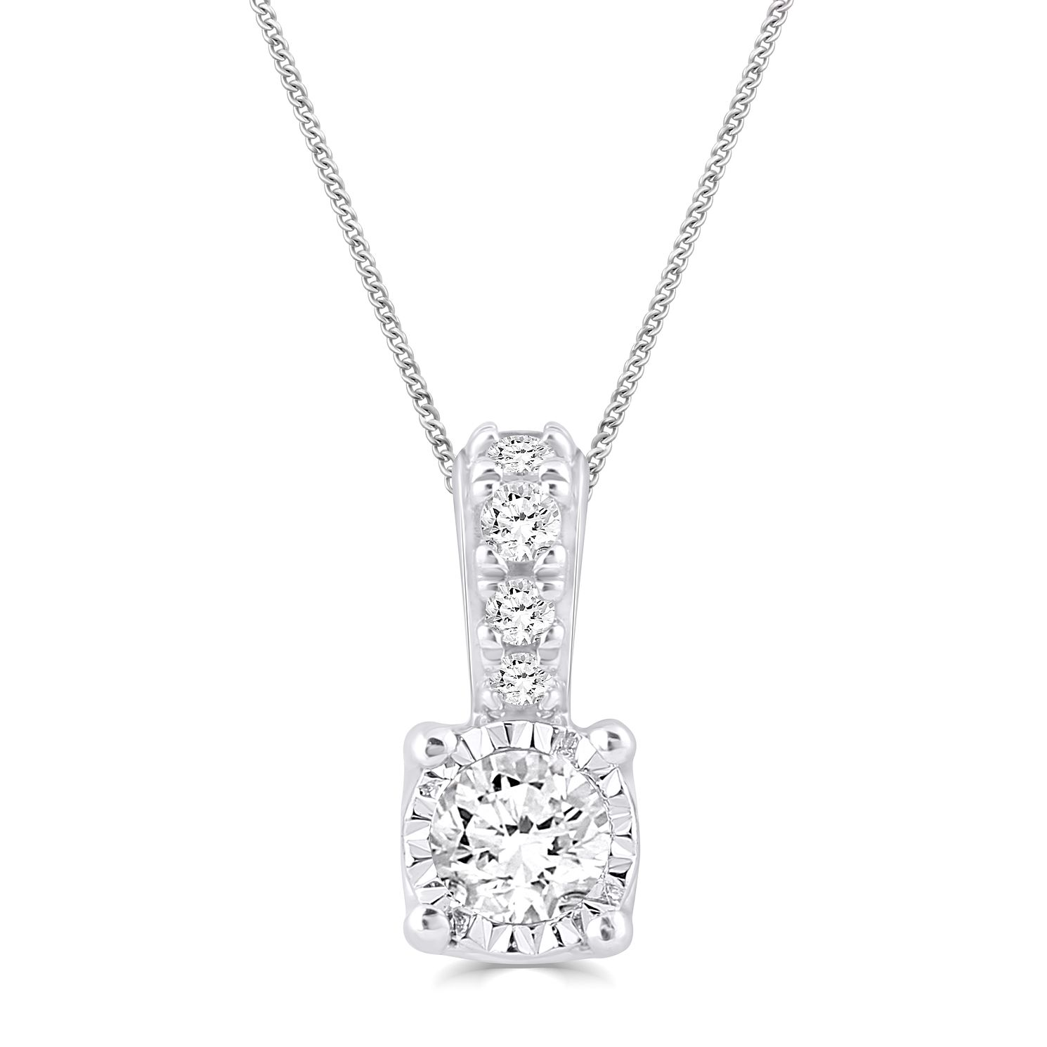Silver Diamond Illusion Set Pendant - Product number 4872649