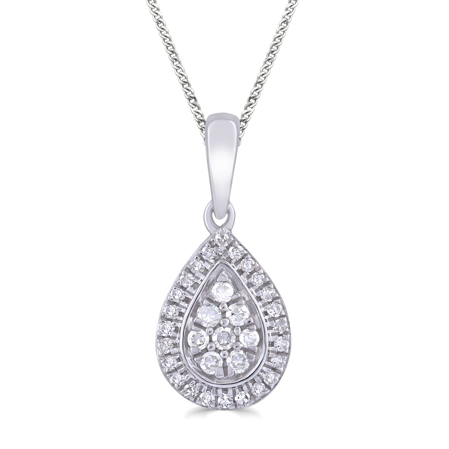 Silver 1/10ct Diamond Pear Pendant - Product number 4872657