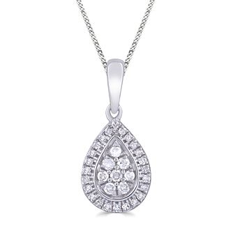 Silver 0.10ct Diamond Pear Pendant - Product number 4872657