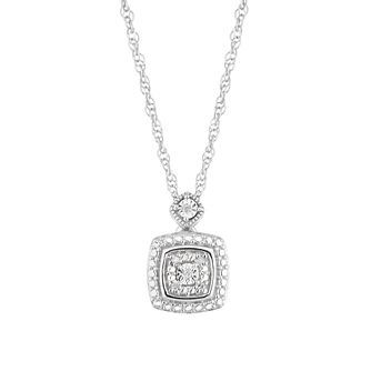 Silver Diamond Cushion Pendant - Product number 4872673