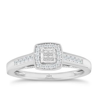 9ct White Gold 1/4 Carat Princessa Diamond Cluster Ring - Product number 4873815