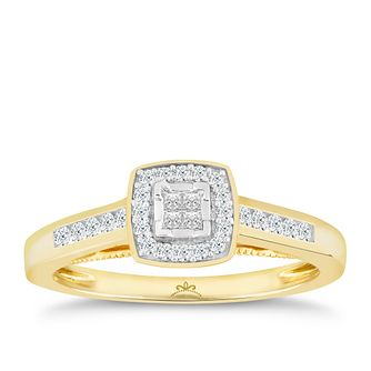 Princessa  9ct Yellow Gold 1/4ct Diamond Cluster Ring - Product number 4873971