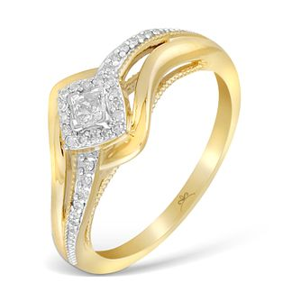 9ct Yellow Gold Wrap Princessa Diamond Cluster Ring - Product number 4874293