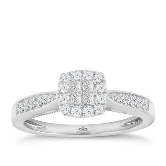 9ct White Gold 1/3 Carat Princessa Diamond Cluster Ring - Product number 4874595