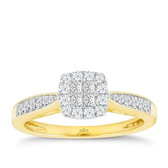 Princessa 9ct Yellow Gold 1/3ct Diamond Cluster Ring - Product number 4874773