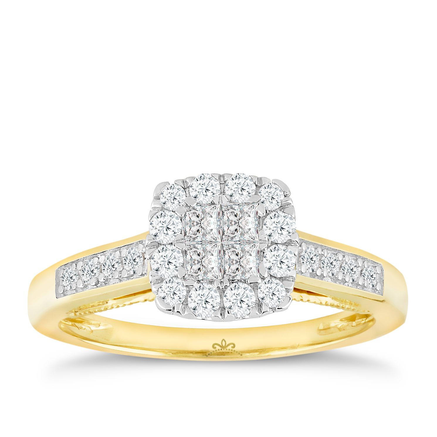 Princessa 9ct Yellow Gold 0.50ct Diamond Cluster Ring - Product number 4875052