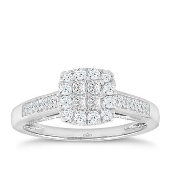 Princessa 9ct White Gold 1/2ct Diamond Cluster Ring - Product number 4875559