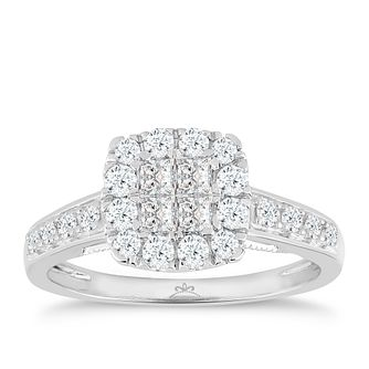 Princessa 9ct White Gold 0.66ct Diamond Square Cluster Ring - Product number 4875729