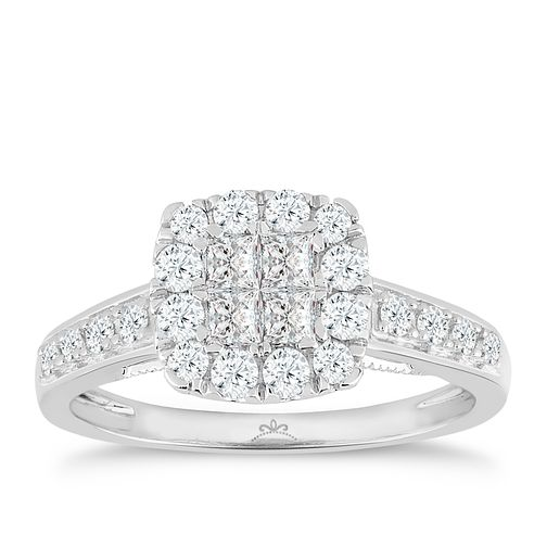 Princessa 9ct White Gold 2/3ct Diamond Square Cluster Ring - Product number 4875729