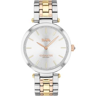 Coach Park Ladies' Tri Tone Swarovski Crystal Bracelet Watch - Product number 4877292