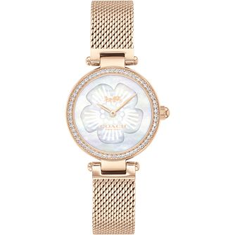 Coach Park Ladies' Mother of Pearl Rose Gold Tone Mesh Watch - Product number 4877322