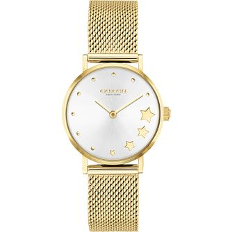 Coach Perry Ladies' Yellow Gold Tone Mesh Bracelet Watch - Product number 4877373