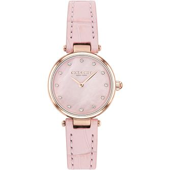 Coach Park Rose Gold Tone Swarovski Crystal Pink Strap Watch - Product number 4877411
