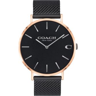 Coach Charles Men's Rose Gold Tone Ion Plated Mesh Watch - Product number 4877438
