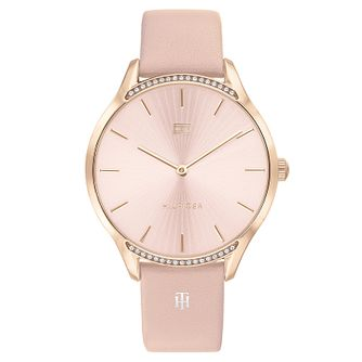 Tommy Hilfiger Rose Gold Plated Crystal Pink Leather Watch - Product number 4877586