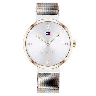 Tommy Hilfiger Ladies' Two Tone Crystal Mesh Bracelet Watch - Product number 4877608