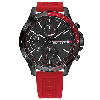 Tommy Hilfiger Men's Bank Ion Plated Red Strap Watch - Product number 4877705