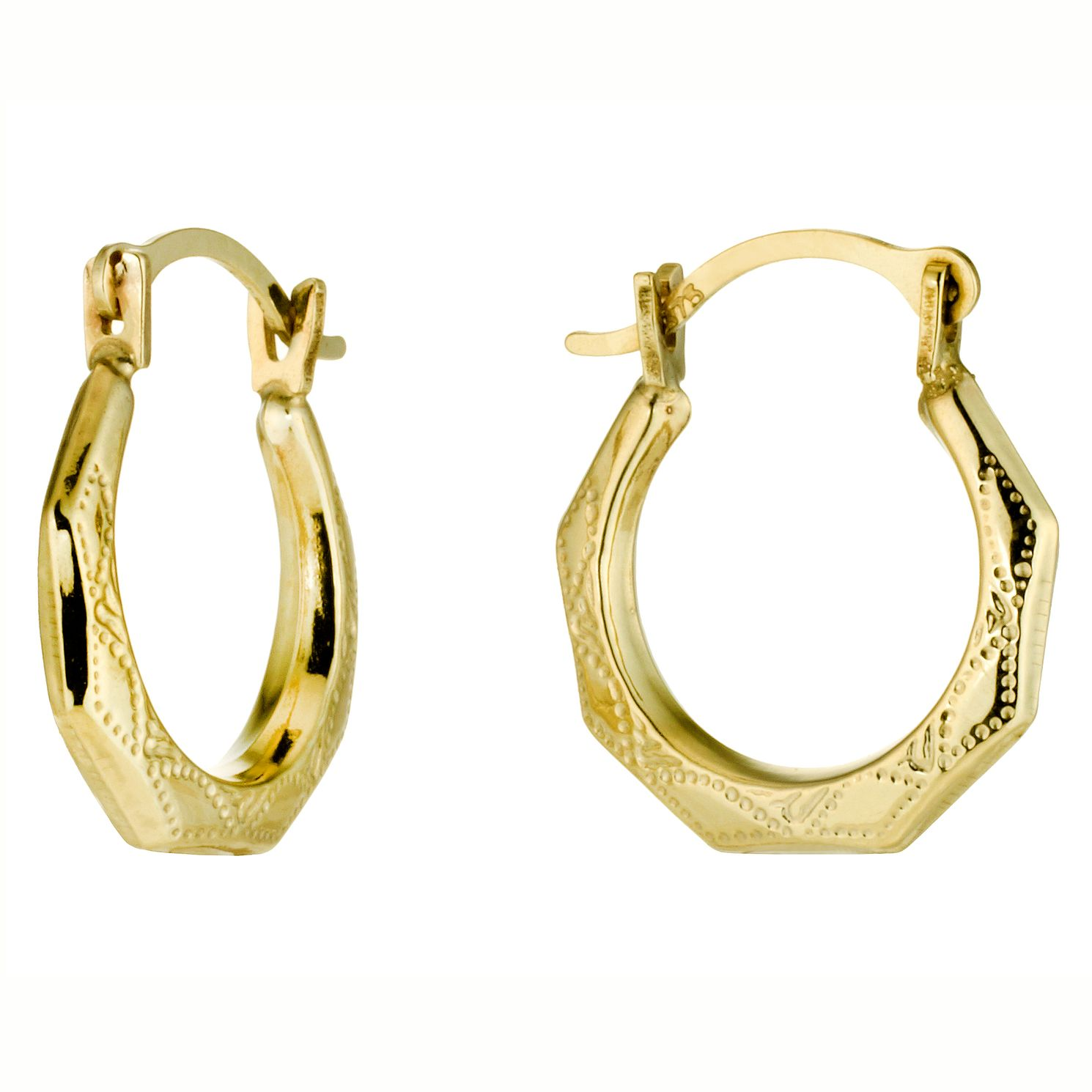 9ct Yellow Gold Octagon 8mm Hoop Earrings - Product number 4878299