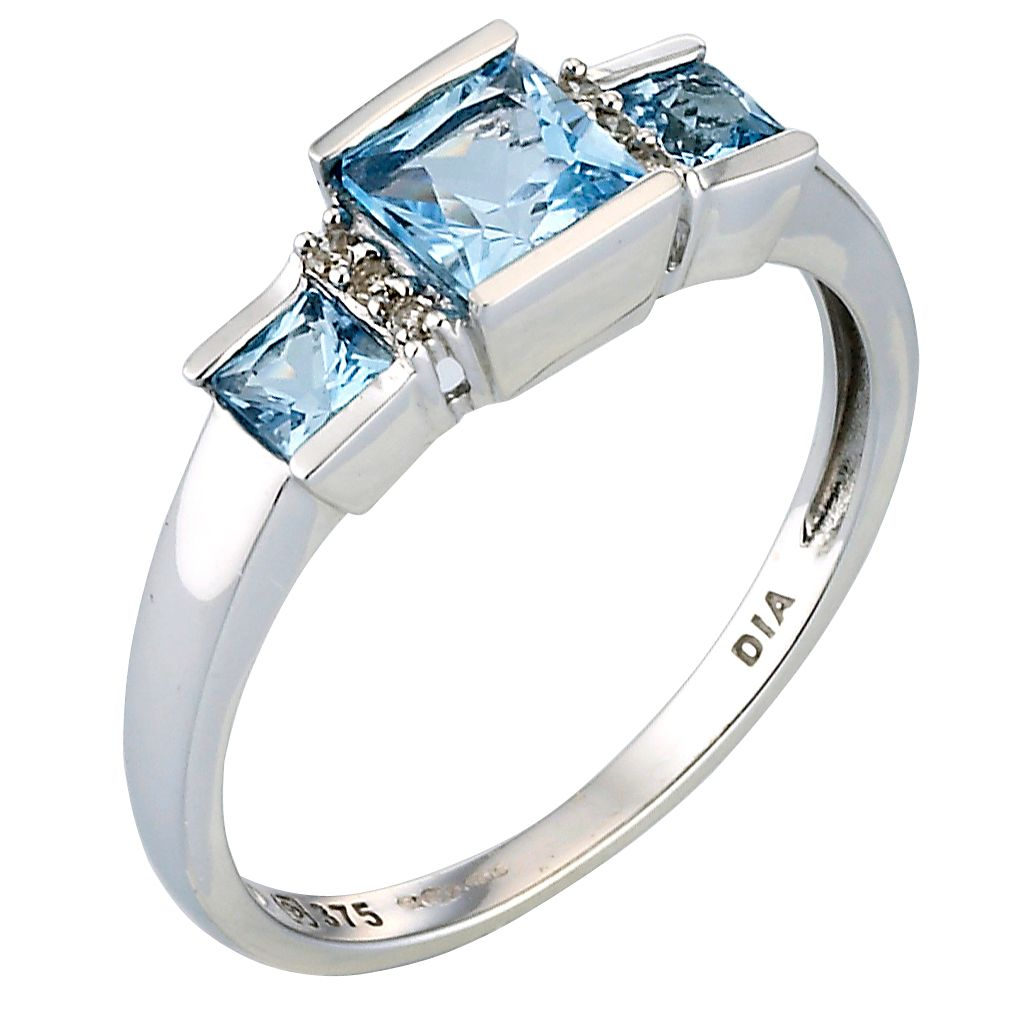9ct Blue Topaz & Diamond Ring - Product number 4882229