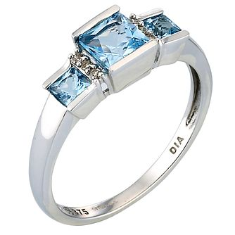 9ct White Gold Blue Topaz & Diamond Ring - Product number 4882229