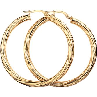 9ct Yellow Gold Twist 30mm Hoop Earrings - Product number 4884922