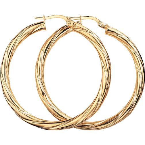 9ct Gold Creole Twist Earrings - Product number 4884922