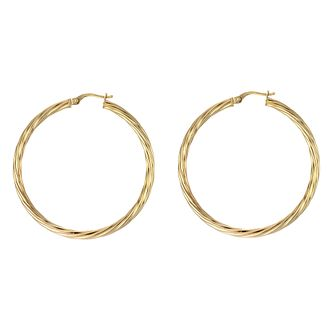 9ct Yellow Gold Twisted 40mm Hoop Earrings - Product number 4884930