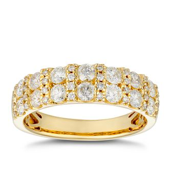 18ct Yellow Gold 1ct Diamond Pave Set Two Rows Ring - Product number 4885066